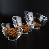 Thickened glass oblique bowl hemisphere round hot pot buffet bowl fruit plate salad bowl creative seasoning candy bowl