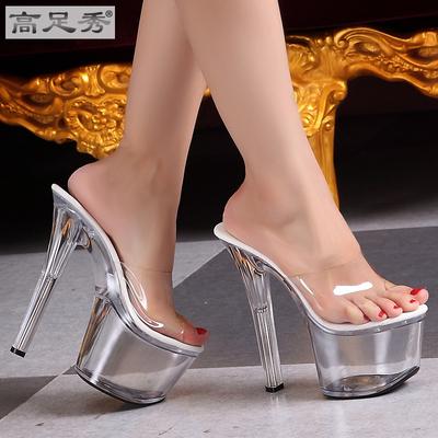 欧美女鞋模特防滑超高跟鞋16cm软面全透明细跟防水台水晶鞋凉拖鞋