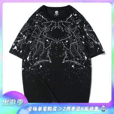 夏季男女装欧美潮牌重工烫金星空圆领宽松短袖T恤漫天星座情侣款