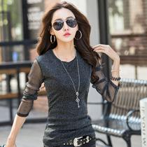 春装新款韩版女装亮丝透视打底衫修身网纱长袖t恤女短款大码体恤