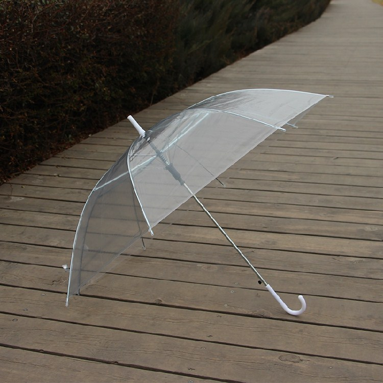 Transparent umbrella disposable windproof wind advertising umbrella long handle female models adult fashion reinforcement