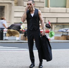 Euro-American Street Photographers with Similar Slimming Armor Men Summer Black Short Suit and Simple Jacket Men's Trend