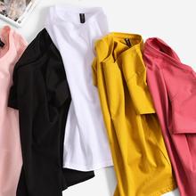 韩版 宽松大码 显瘦潮百搭圆领白色上衣 纯棉T恤女短袖 2019夏季新款图片