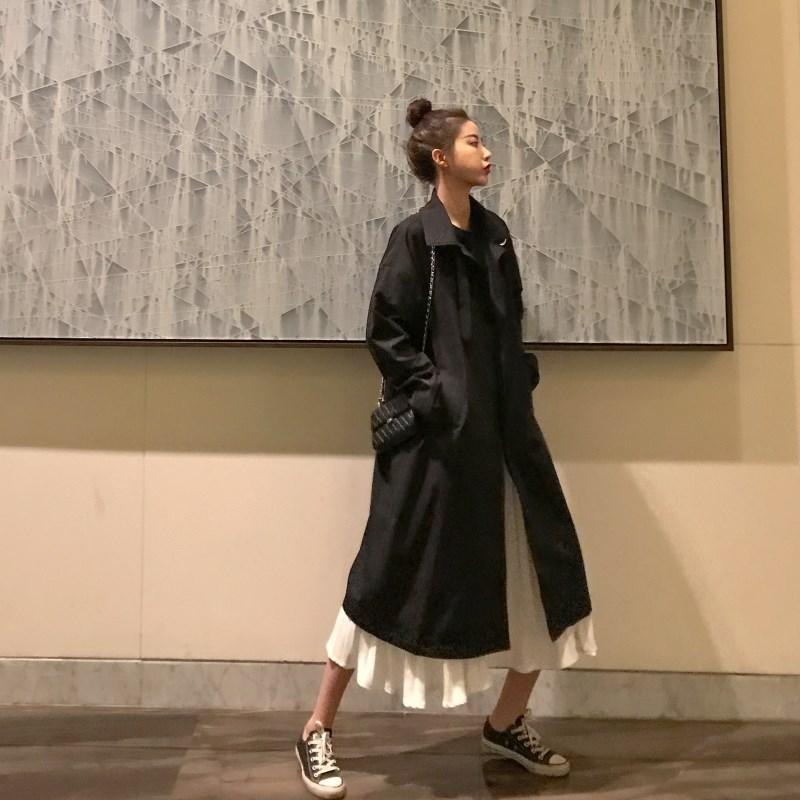 晚秋同款风衣时尚提升温婉女人味白色韩版裙子加女装两件套装外套