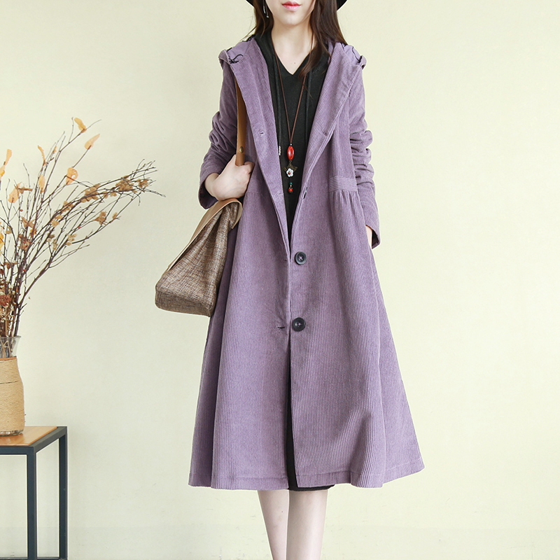 retro literary corduroy women's windbreaker jacket autumn and winter long section thick hooded outside