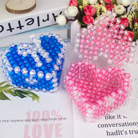Creative handmade beaded finished home decoration bow love jewelry box heart-shaped storage box novelty gift