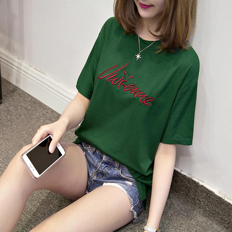 2017春夏新款韩版女士短袖丅恤衫 宽松女装纯棉休闲上衣T桖大码潮