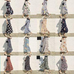 夏季夏装女装沙滩度假波西米亚中长款雪纺一片式高腰系带半身裙女