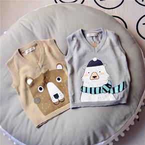 韩版2018男女童春装新款儿童小熊针织衫背心纯棉卡通上衣坎肩马甲