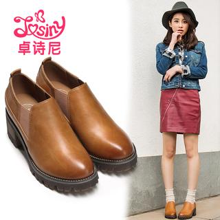 卓诗尼春秋款单鞋女韩版休闲低帮鞋高跟粗跟学院风女鞋112715201
