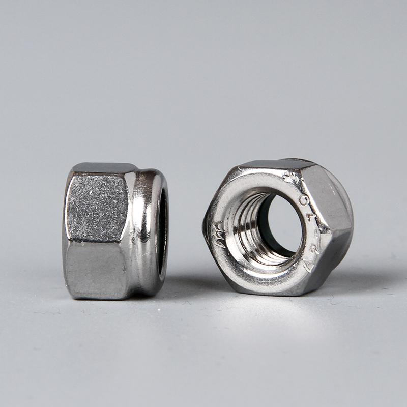 304不锈钢尼龙自锁紧螺母 DIN982重型加厚防松防滑螺丝帽 M5-M30
