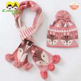 Children's hat scarf suit winter cotton boy girl jacquard knitted hat scarf two-piece Korean version of the tide