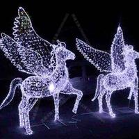 Christmas New Year's Day commercial beauty Chen lighting style horse animal modeling custom decoration large outdoor square beauty