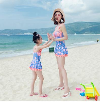 亲子泳衣母女连体裙式遮肚显瘦保守平角可爱儿童游泳衣女童泳装