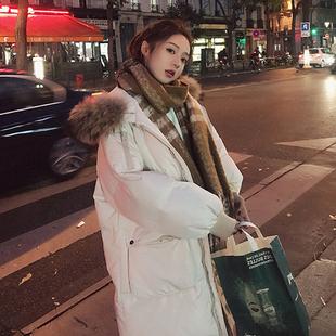 棉服女中长款2017新款冬季韩版chic大毛领面包服过膝羽绒棉衣外套