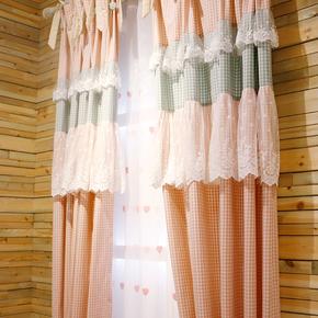 格调生活粉色格子田园韩式温馨公主房卧室清新飘窗帘成品落地窗纱