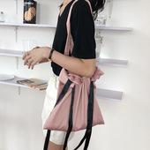 包邮 纯色少女风夏日ins抽绳单肩手提束口水桶包光滑绸缎面丝带布