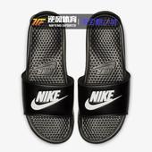 Nike  BENASSI JDI 耐克拖鞋男女黑白字母沙滩拖凉拖鞋343880-090