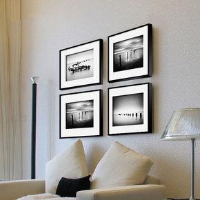 现代简约装饰画实木相框挂墙有框画黑白三联画客厅餐厅沙发背景墙
