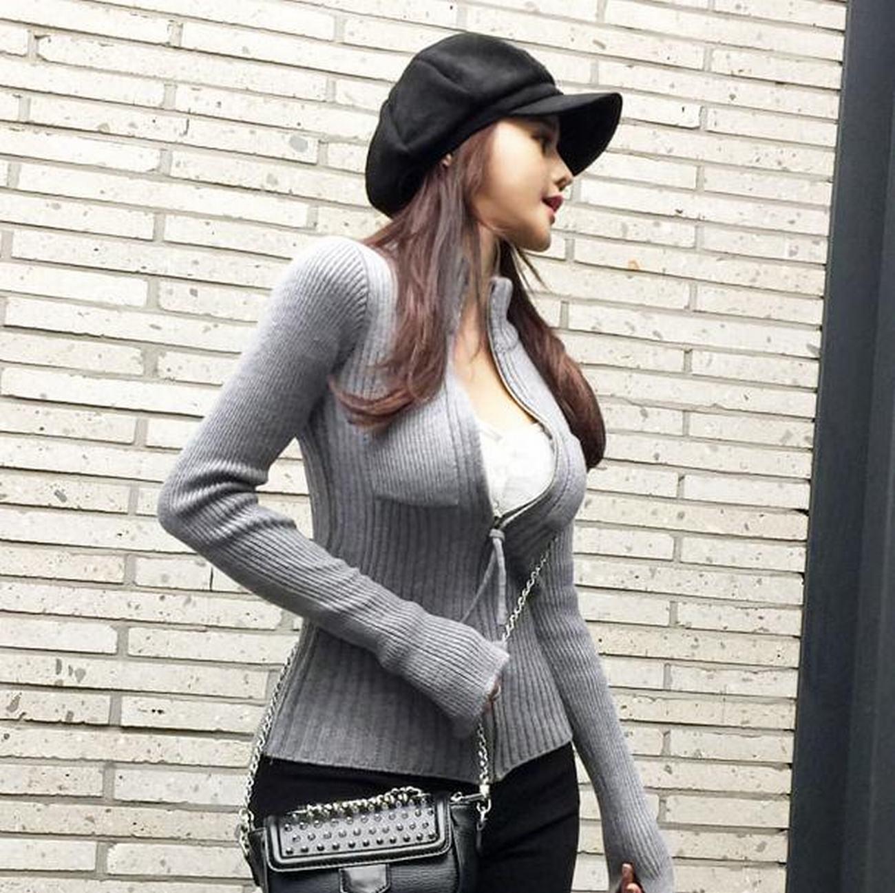 韩国代购正品立领针织开衫女长袖紧身打底毛衣上衣秋季拉链衫外套