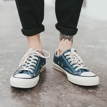 街拍帆布鞋男夏季低帮系带休闲鞋男韩版男士布鞋透气男鞋学生鞋子