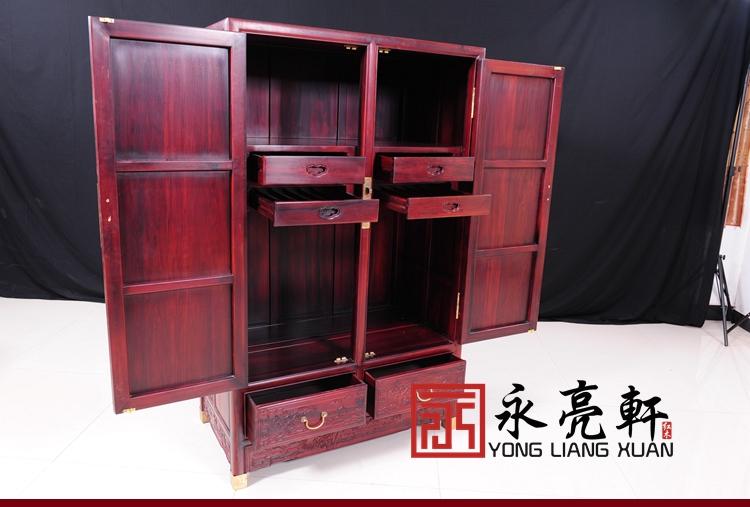 红木家具 卧室家具 红木衣柜 仿古衣柜 南美酸枝山水顶箱柜