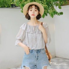 Xianqi shirt super fairy western short sleeve shirt sweet summer 2020 new chiffon shirt girl design sense niche
