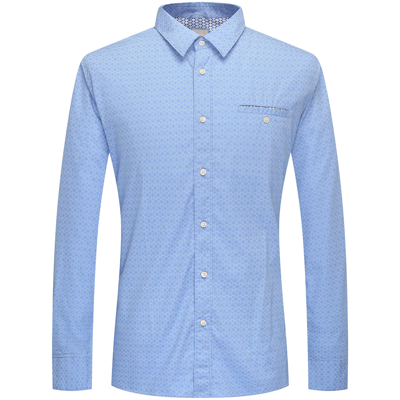 CAMICISSIMA/恺米切春秋新款男士纯棉长袖衬衫 蓝色印花休闲衬衣