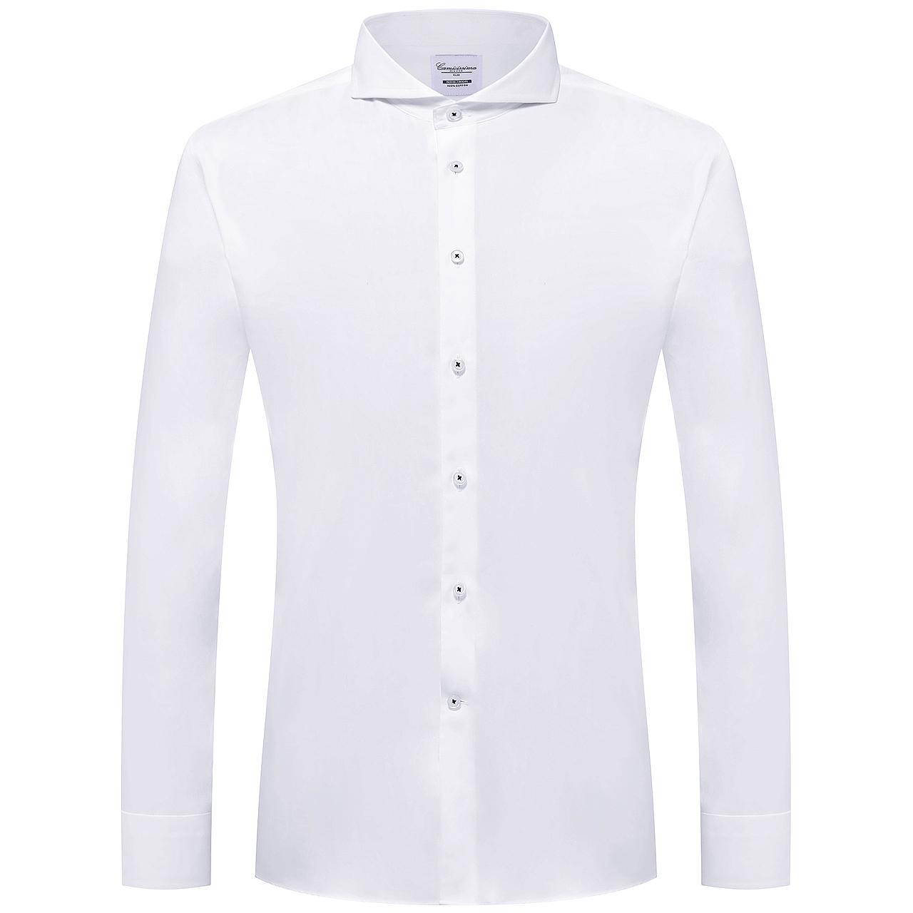 CAMICISSIMA/恺米切2017新款温莎领免烫长袖衬衫 商务男白色衬衣