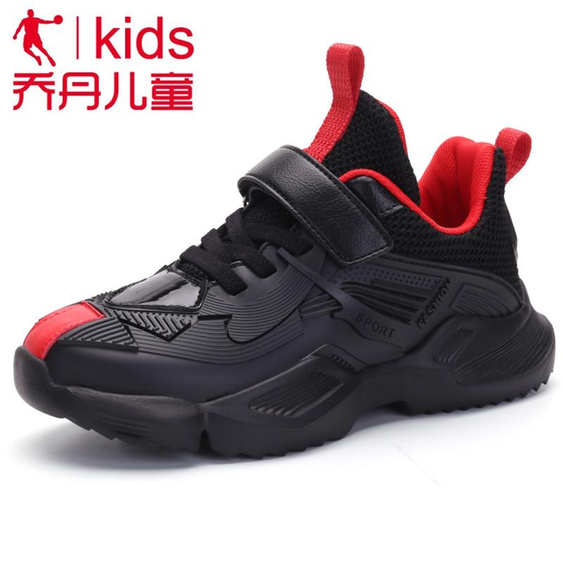 乔丹男童鞋2019儿童跑步鞋皮面防水运动鞋中大童休闲鞋防臭篮球鞋