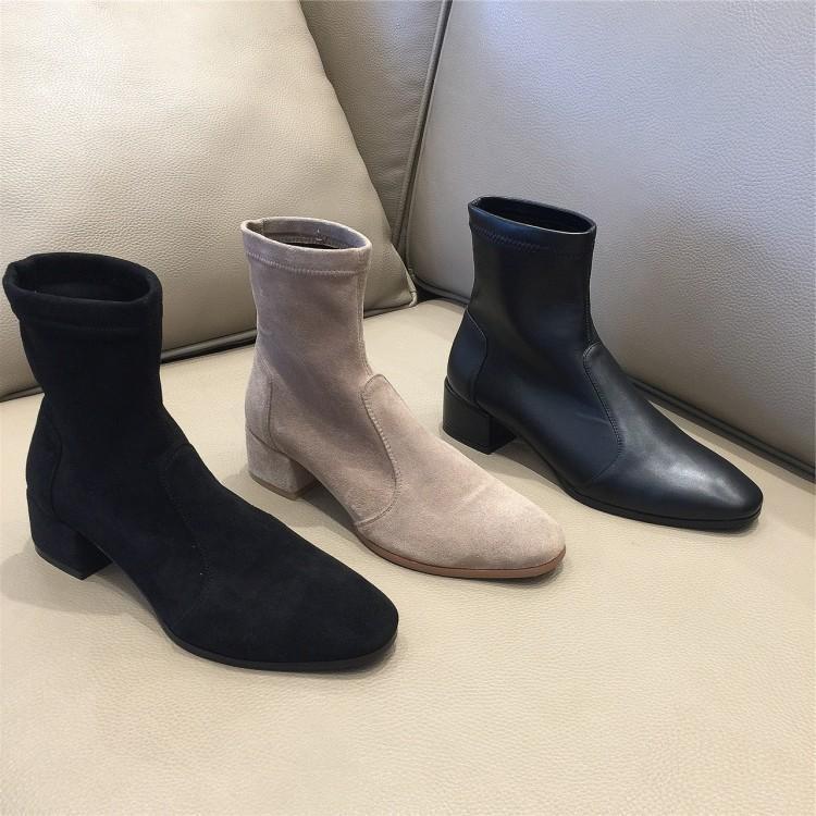 2019秋冬新款韩版百搭弹力包腿瘦瘦靴女真皮绒面粗跟中跟矮筒短靴
