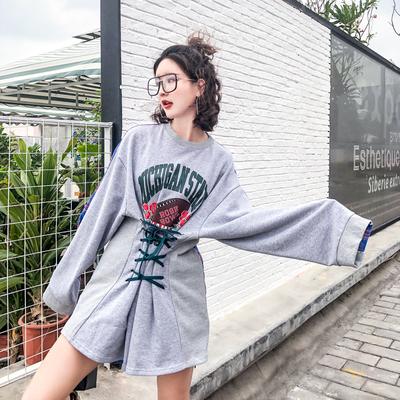 【清仓】泰国潮牌拼色印花字母绑带束腰显瘦宽松长袖t恤女潮