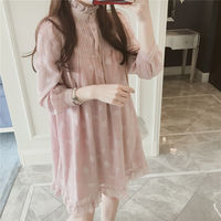 Spring new pregnant women's long coat long-sleeved chiffon dress 200 kg large size was thin shirt bottom skirt