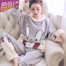 Autumn and winter coralline velvet pajamas for women in winter long sleeves, plush and thick, warm, sweet and lovely flannel household suit