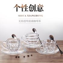 无铅透明玻璃咖啡杯耐热带把花茶杯泡茶杯牛奶玻璃杯子 带碟带勺