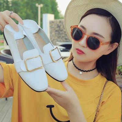 小白女鞋夏季2018新款百搭韩版学生一脚蹬休闲平底懒人透气豆豆鞋