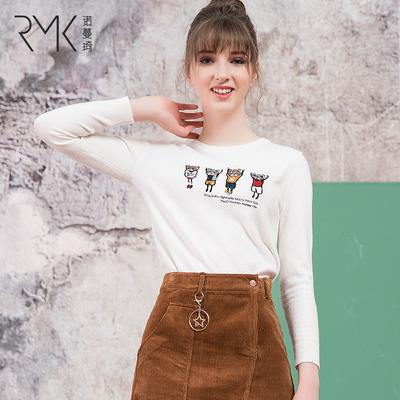 诺曼琦女装时尚卡通绣花长袖毛衣冬季新款修身显痩套装针织打底衫