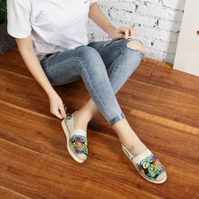 Lazy Shoes for Men and Women 2019 New Printed Graffiti Thick-soled Canvas Shoes Air-permeable Hemp-soled Grass-woven Fisherman Shoes