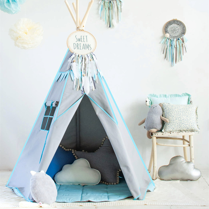 ins印地安小帐篷儿童玩具屋摄影宝宝阅读书角北欧布艺游戏房 室内
