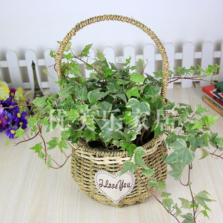 植物编制工艺品 草编花篮竹柳编制艺术品创意家居装饰品
