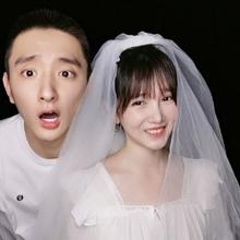 头纱新娘短款 陈小纭同款 白色超仙拍照道具网红结婚领证先生头饰