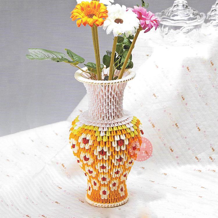 紙緣手工三角插花瓶折紙手工diy三角紙材料花編觀音瓶材料包圖片