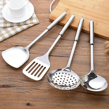 Kitchen stainless steel spatula thickening household long handle kitchen utensils