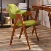 电脑椅实木椅子现代简约家用餐椅北欧书桌创意休闲布艺A字靠背椅