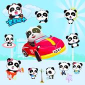 宝宝巴士熊猫墙贴兴趣快乐启蒙卡通动画玻璃防水贴纸可移除装饰画