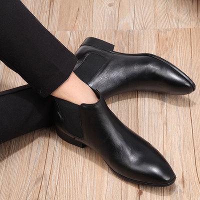 皮靴男韩版真皮英伦男士正装小尖头高帮皮鞋男款潮流切尔西男靴子