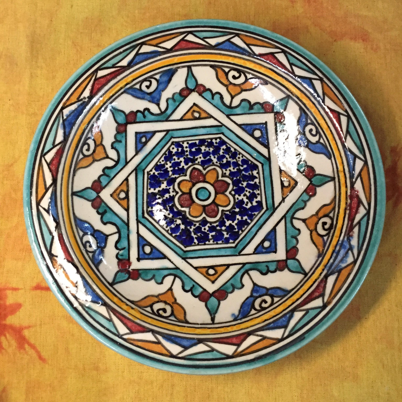 摩洛哥 墙面壁饰挂饰手绘 陶瓷盘 家居饰品 摆件 20cm 背景墙古典
