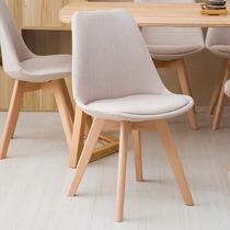 酒店会所休闲椅子北欧简约布艺餐椅书椅美式乡村实木餐椅化浊
