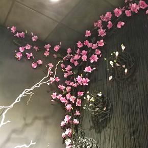 仿真玉兰假花美容院装饰藤蔓背景墙花墙花藤花条室内客厅店铺植物
