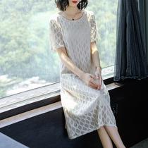 2018夏季新款大码女装宽松显瘦欧洲站菱形网纱中长连衣裙OS0657